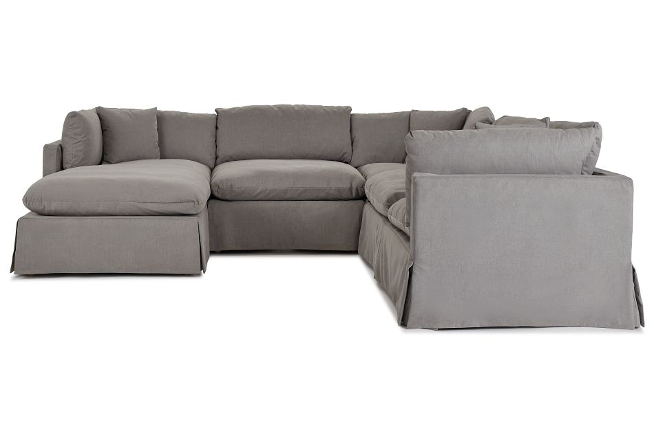 Raegan Gray Fabric Small Left Chaise Sectional,  (3)