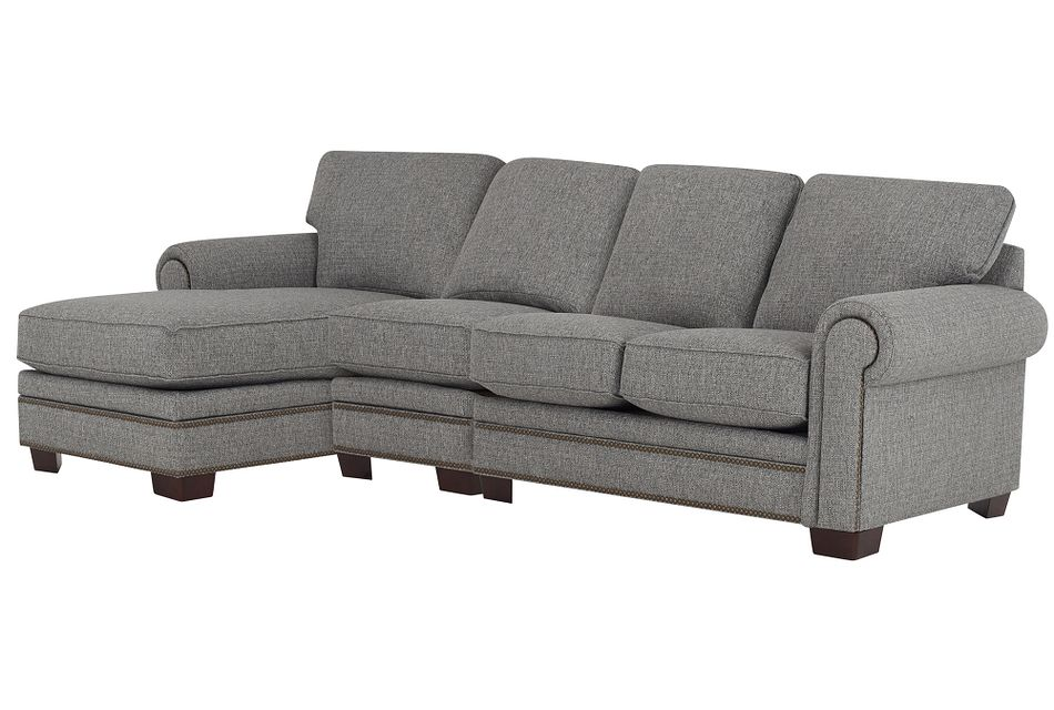 Foster Gray Fabric Small Left Chaise Sectional