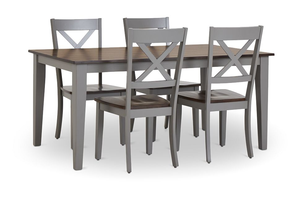 Sumter Gray Rect Table & 4 Wood Chairs