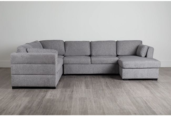 Amber Dark Gray Fabric Large Right Chaise Sleeper Sectional
