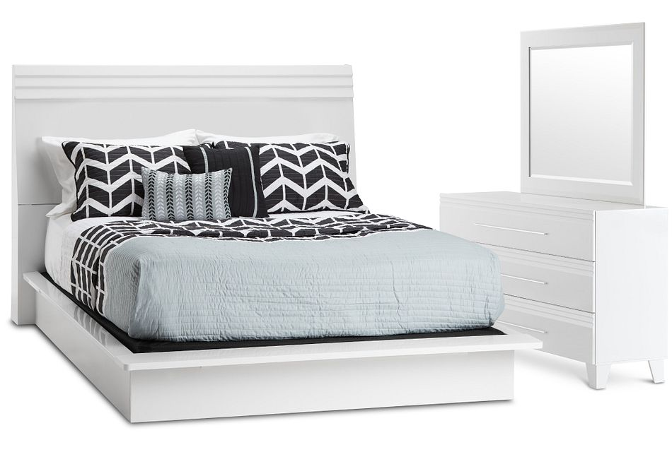 Midtown White Wood Platform Bedroom