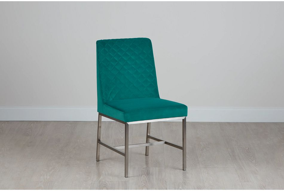 Caspia Teal Velvet Upholstered Side Chair