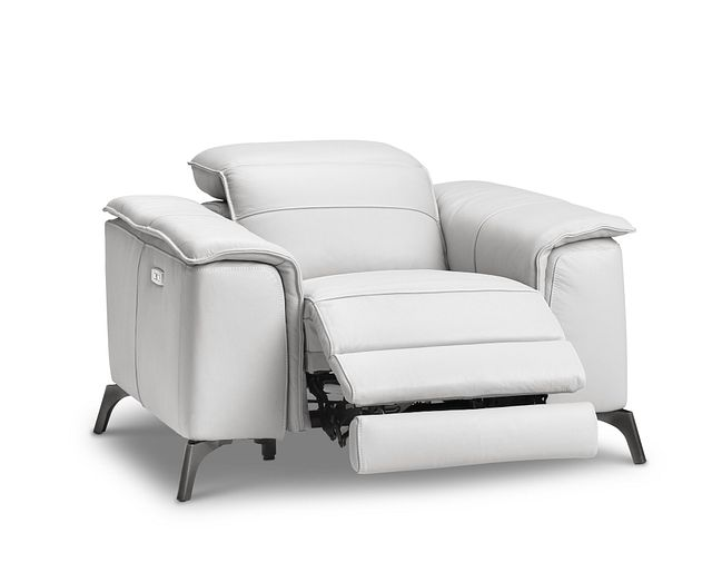 Pearson White Leather Power Recliner With Power Headrest (1)