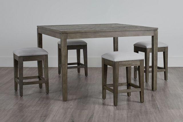 Bravo Dark Tone Square High Table & 4 Slat Barstools (0)