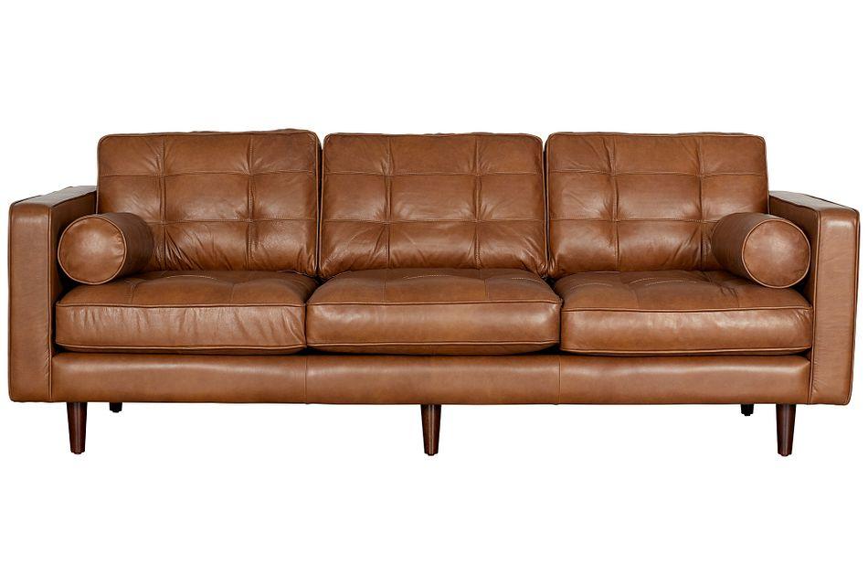 Encino Medium Brown  Leather Sofa,  (0)