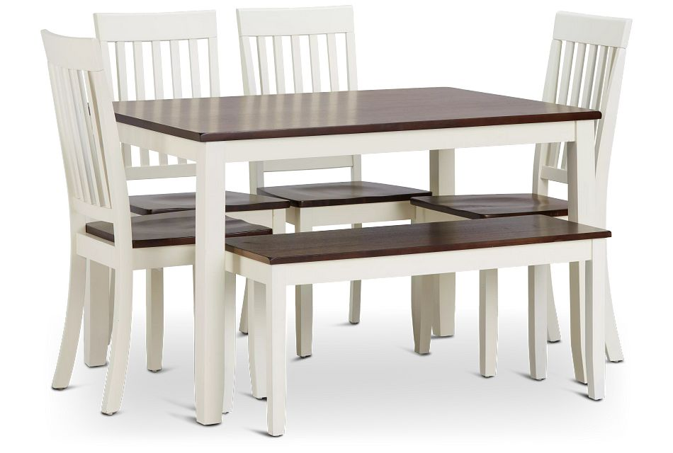 Santos WHITE TWO-TONE Table, 4 Chairs & Bench,  (1)