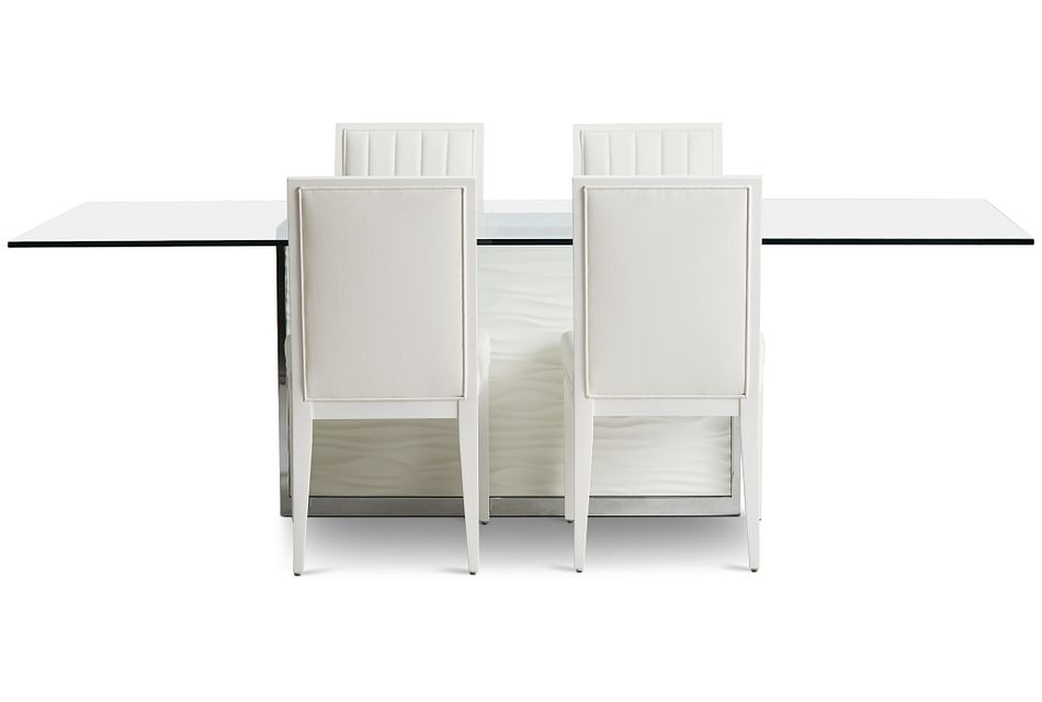 """Ocean Drive 100"""" Glass Table & 4 Wood Chairs"""