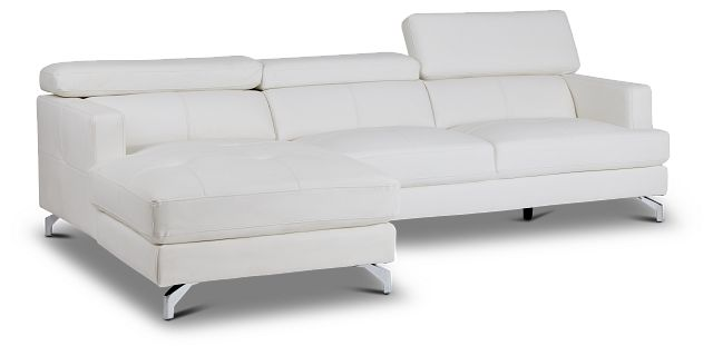 Marquez White Micro Left Chaise Sectional (3)