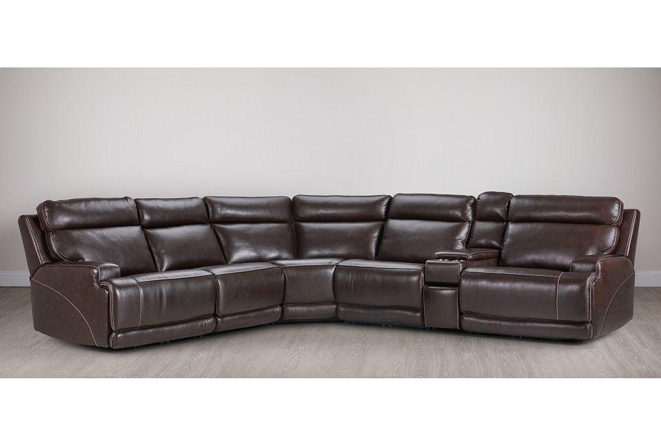 Valor Dark Brown Leather Medium Dual Power 2-arm Reclining Sectional