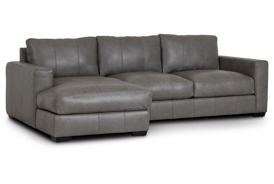 Dawkins Gray Leather Left Chaise Sectional,  (0)