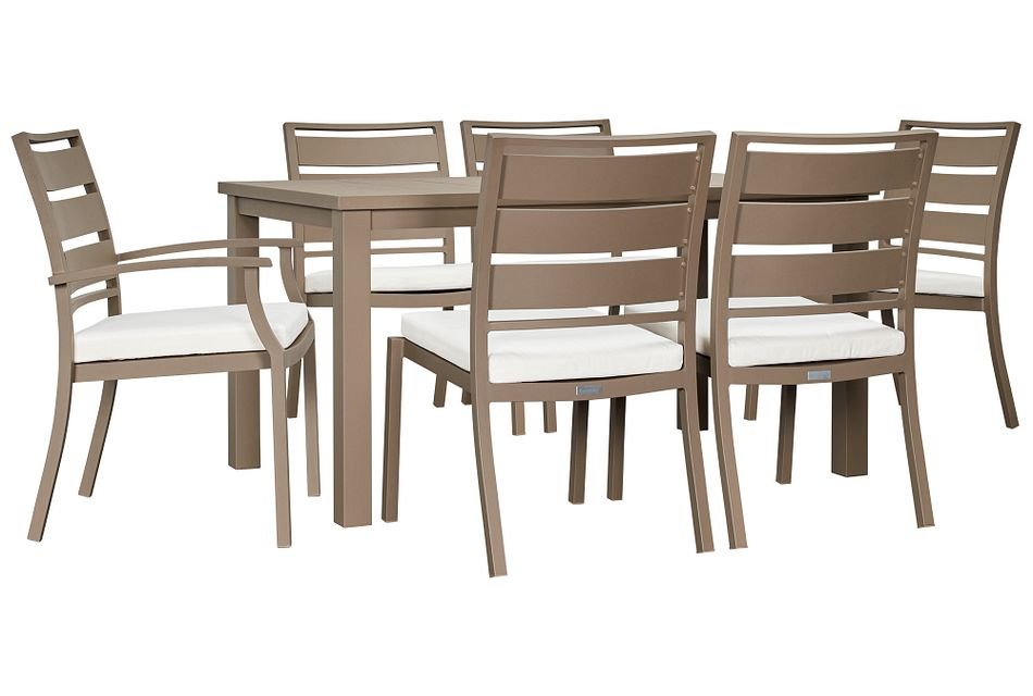"""Raleigh White 58"""" Rectangular Table & 4 Cushioned Chairs"""