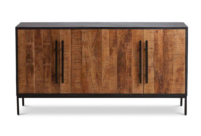 Dax Black Wood Four-door Cabinet