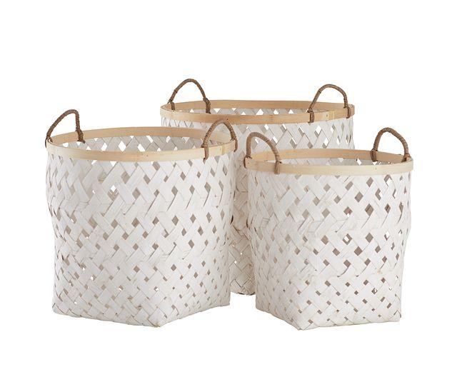 Kaine White Set Of 3 Basket (0)