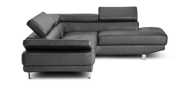 Zane Black Micro Right Chaise Sectional (3)