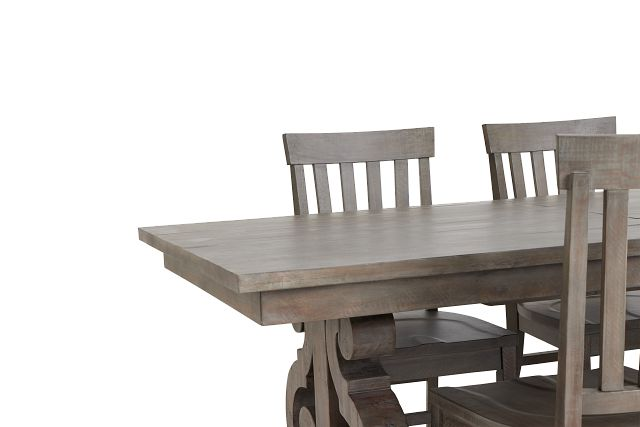 Sonoma Light Tone Trestle Table & 4 Wood Chairs