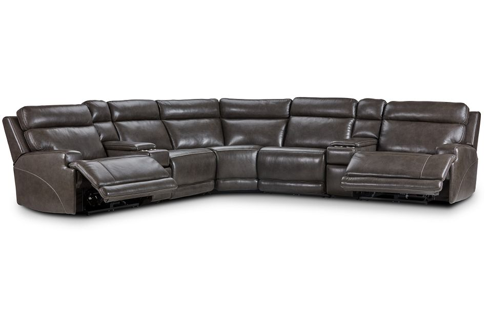 Valor Dark Gray Leather Large Dual Power Reclining Two-arm Sectional