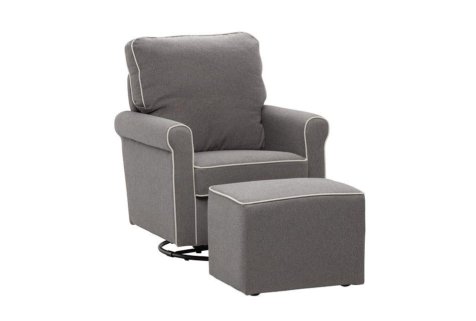 Maya Dark Gray Swivel Chair & Ottoman