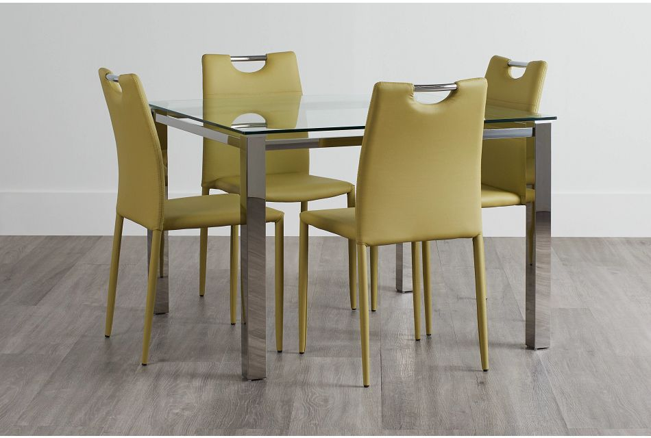 Skyline Light Green Square Table & 4 Upholstered Chairs,  (0)