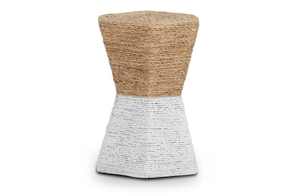 Seaside White Woven Accent Table,  (2)