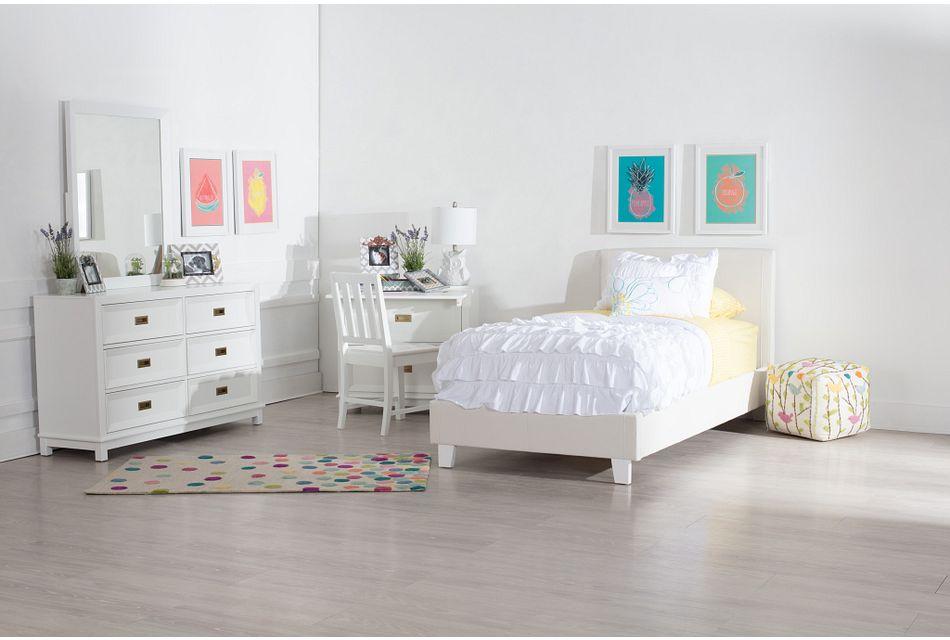 Emma White Uph Panel Bed