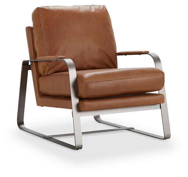 Lex Brown Leather Accent Chair (1)