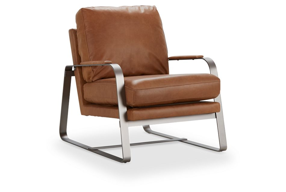 Lex Brown Lthr/vinyl Accent Chair, %%bed_Size%% (1)