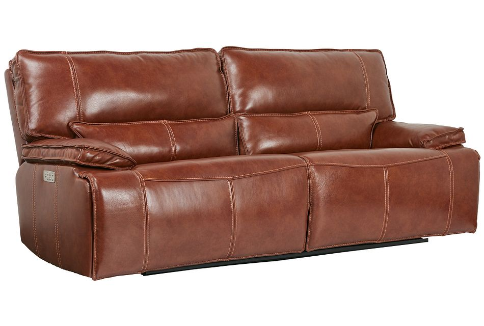 Jesse Medium Brown  Lthr/vinyl Power Reclining Sofa,  (2)