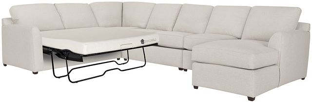 Asheville Light Taupe Fabric Right Chaise Memory Foam Sleeper Sectional (0)