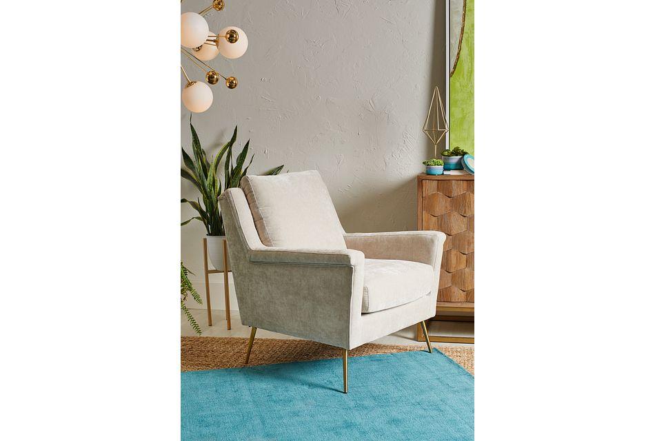 Cambridge Light Beige Velvet Accent Chair