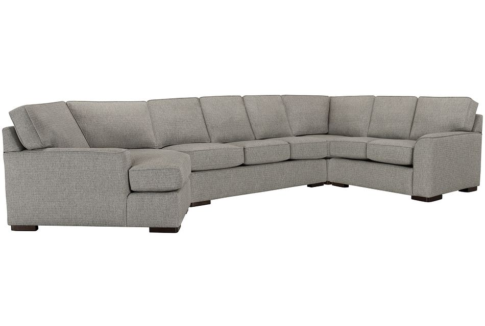 Austin Gray Fabric Left Cuddler Memory Foam Sleeper Sectional