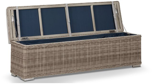 Raleigh Gray Woven Dining Bench (1)
