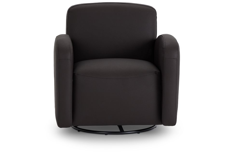 Axis Dark Brown Vinyl Swivel Accent Chair,  (3)