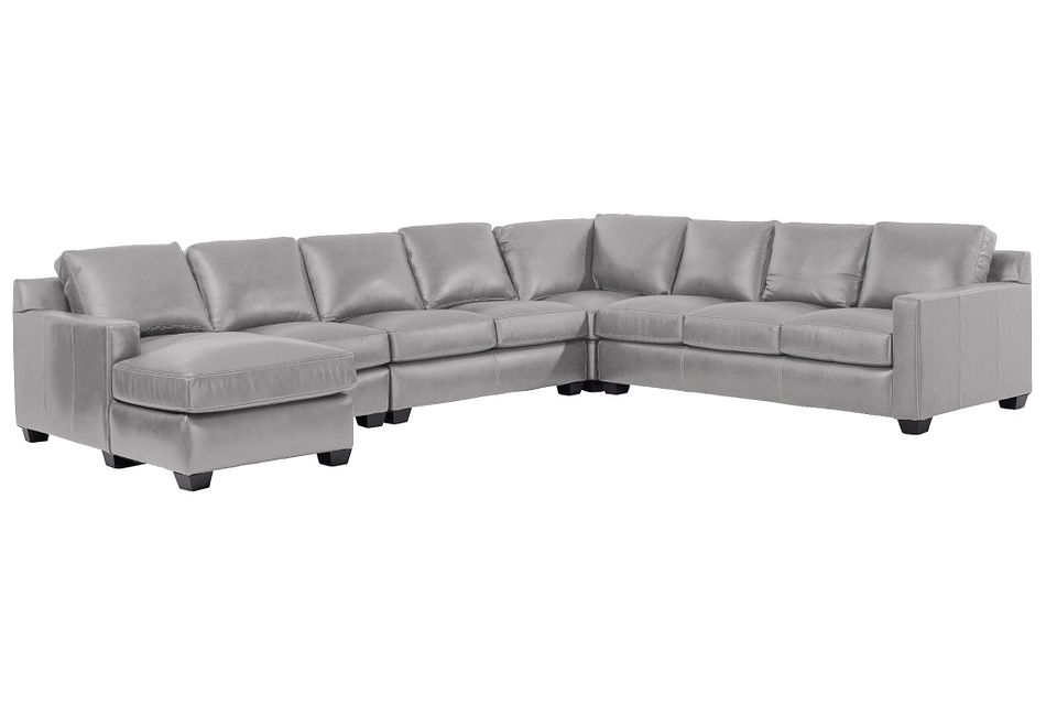 Carson Gray Leather Large Left Chaise Memory Foam Sleeper Sectional