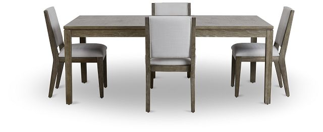 Bravo Dark Tone Rect Table & 4 Upholstered Chairs (3)