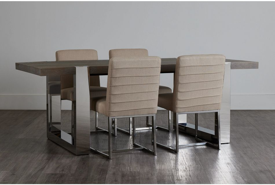 Berlin Beige Rect Table & 4 Upholstered Chairs,  (0)