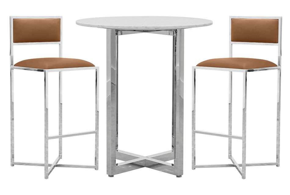 Amalfi Brown Marble Pub Table & 2 Metal Barstools