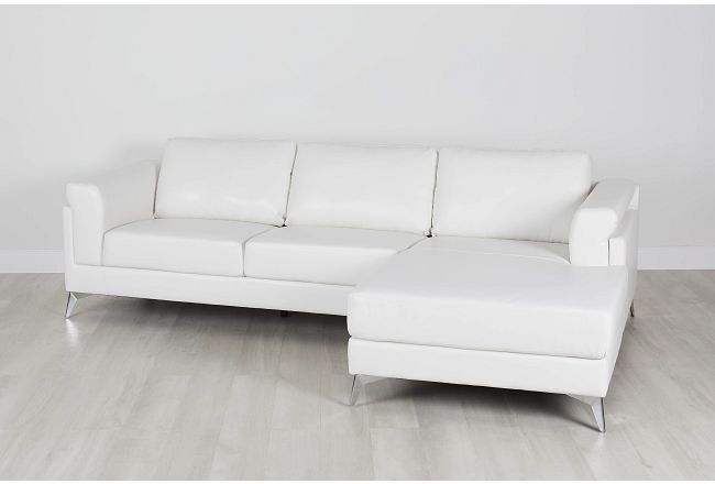 Gianna White Micro Right Chaise Sectional