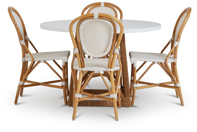 Greenwich Two-tone Round Table & 4 Rattan Chairs (3)