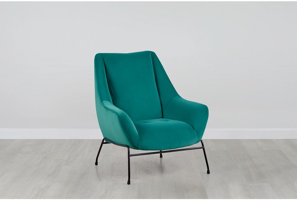 Xena Teal Velvet Accent Chair