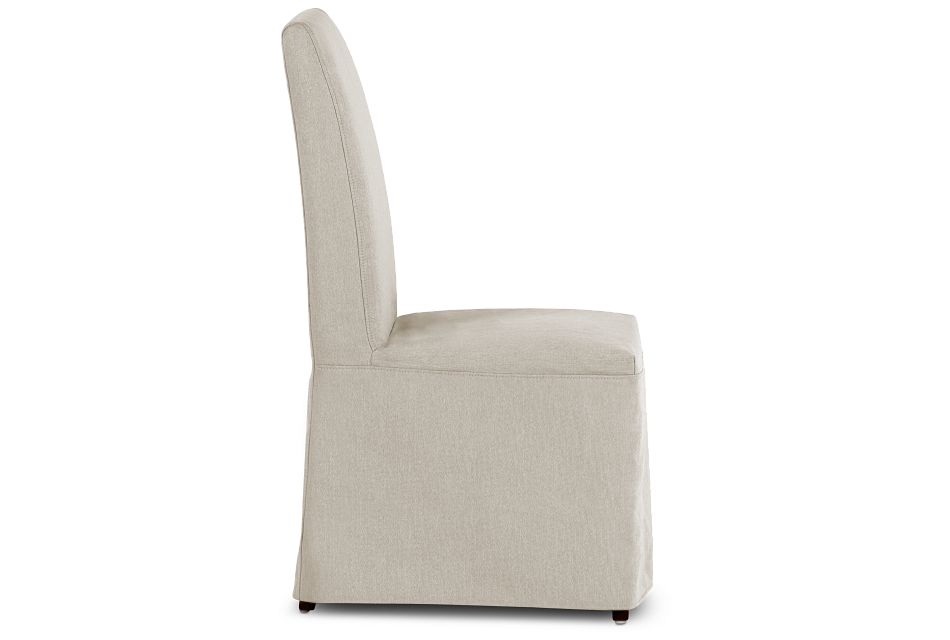 Harbor Light Beige Long Slipcover Chair With Dark-tone Leg