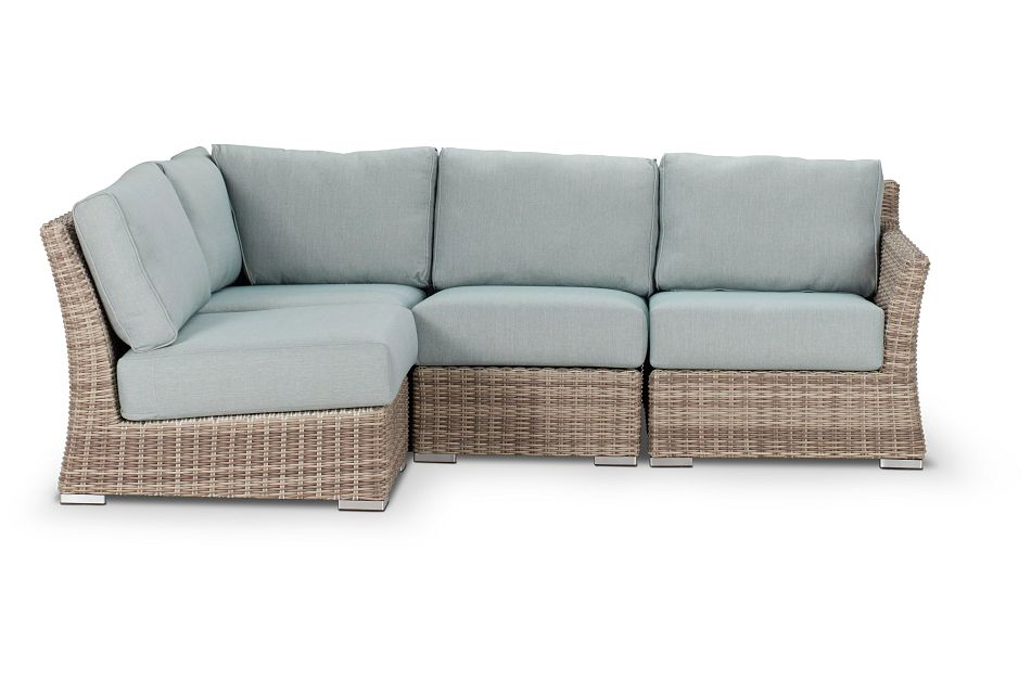 Raleigh Teal Right 4-piece Modular Sectional