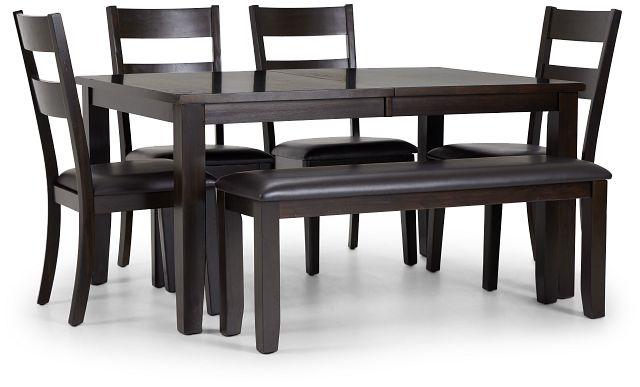 Navarro Dark Tone Rect Table, 4 Chairs & Bench (1)