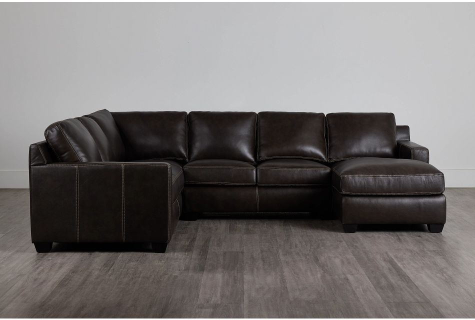 Carson Dark Brown Leather Medium Right Chaise Sectional,  (0)