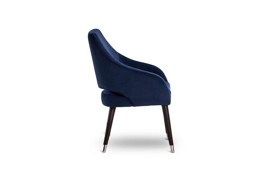 Naveen Dark Blue Velvet Upholstered Arm Chair