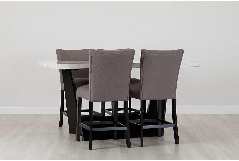 Auburn White High Table & 4 Dark Gray Upholstered Barstools, %%bed_Size%% (0)