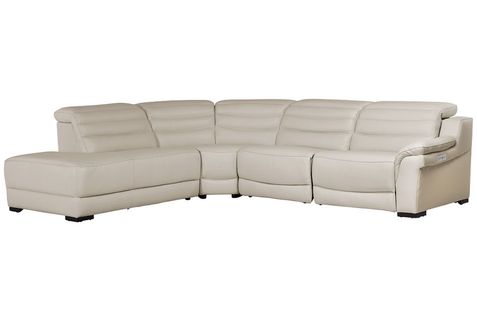 Sentinel Taupe Lthr/vinyl Small Dual Power Left Bumper Sectional