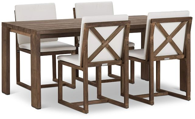 """Linear 70"""" White 70"""" Teak Table & 4 Cushioned Side Chairs (0)"""