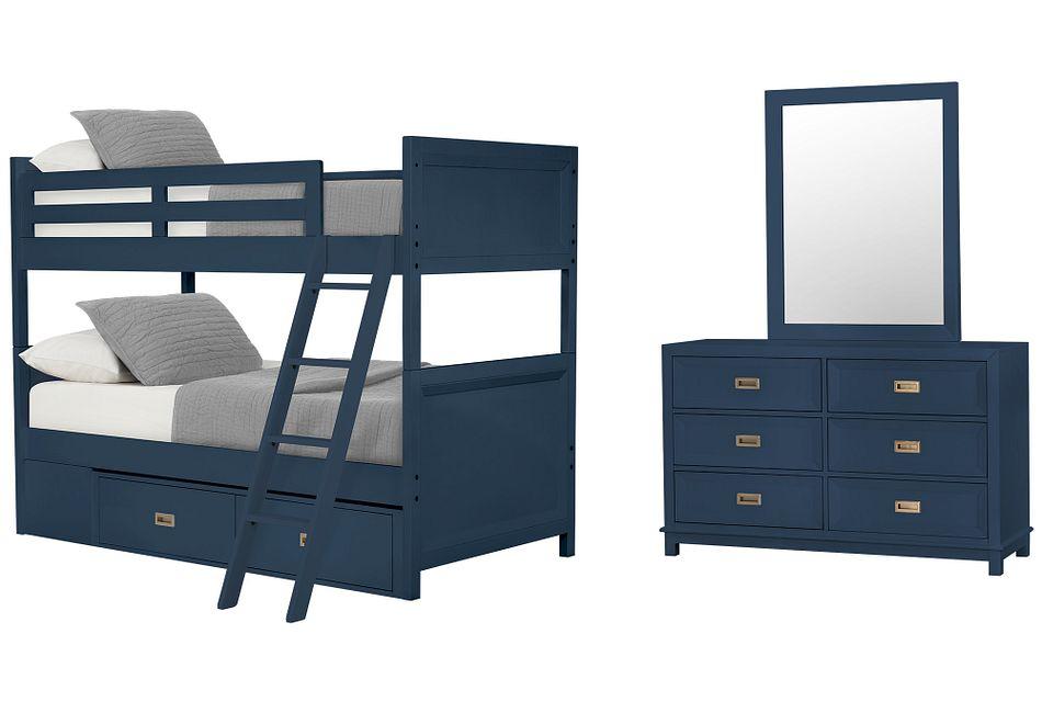 Ryder Dark Blue Bunk Bed Storage Bedroom