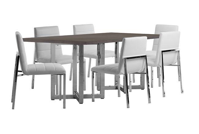 Amalfi White Wood Rectangular Table & 4 Upholstered Chairs