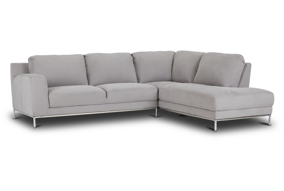 Wynn Light Gray Micro Right Chaise Sectional,  (1)